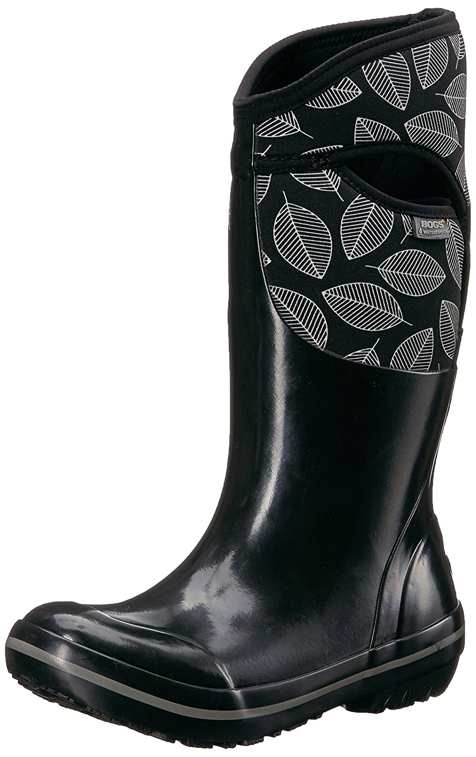 Bogs Women's Plimsoll Leafy Tall Snow Boot B01N5SMKBB 6 B(M) US|Black/Multi
