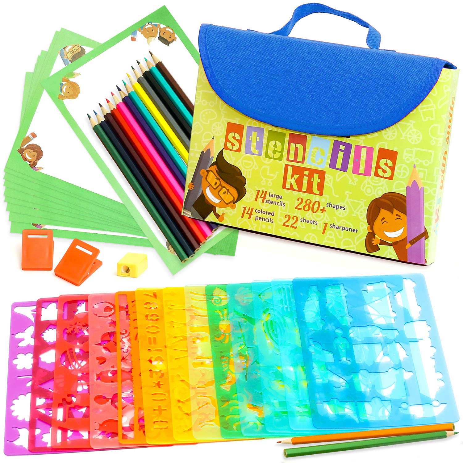 Stencil Drawing Kit for Kids w/Carry Case - 54 pcs. w/ 280 Stencil Shapes and Colored Pencils - Arts and Crafts for Home Travel - Fun Creative STEM Toy for Girls and Boys Ages 3 to Teen - Blue by Art with smile