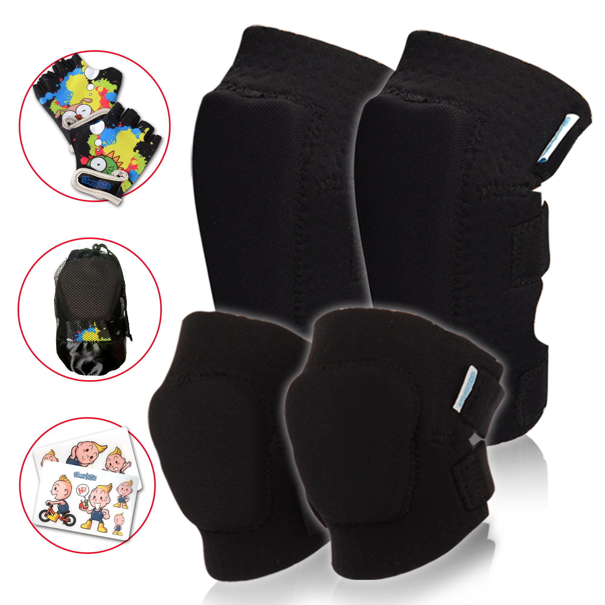 Kids Protective Gear Set | Toddler Knee And Elbow Pads Plus Bike Gloves | For Roller Skating, Cycling, Bike, Rollerblading, Scooter, Skateboarding, Bicycle, Inline Skating For Child Boys And Girls