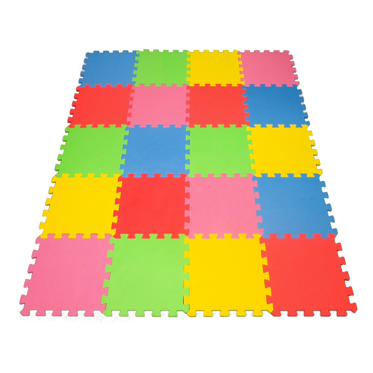 Angels 20 XLarge Foam Mats Toy ideal Gift, Colorful Tiles Multi Use, Create & Build A Safe PLay Area Interlocking Puzzle eva Non-Toxic Floor for Children Toddler Infant Kids Baby Room & Yard Superyard by Angels