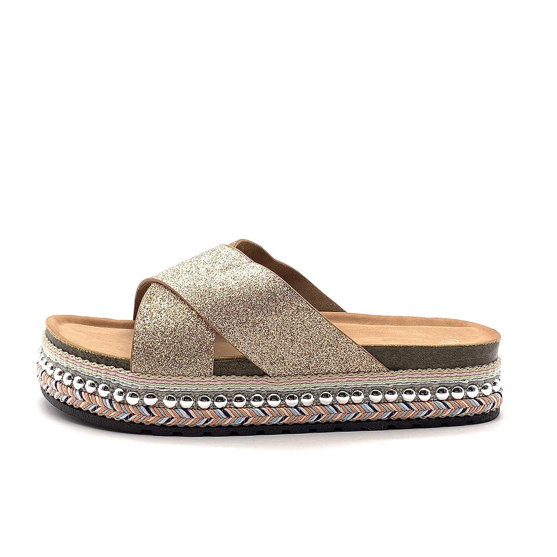 Chaussure Mode Mule de Plage Grosse Semelle Claquette Femme Strass Glitter Corde lani/ères crois/ées Talon Plat 4 CM Angkorly