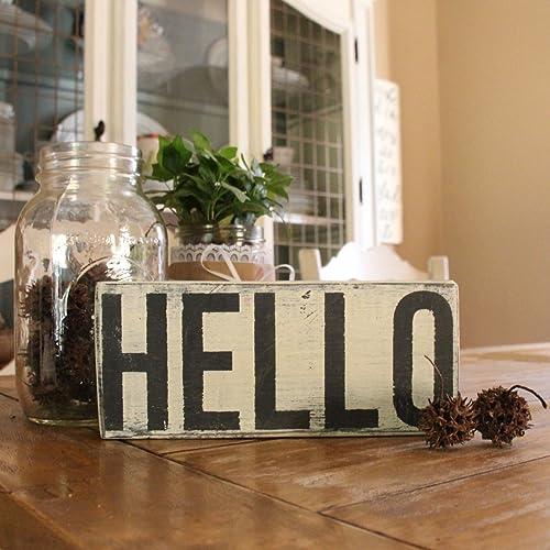 Amazon HELLO Small Wood Shelf Sitter Sign Farmhouse Table Sign Cool Fal Wood Furniture Decor