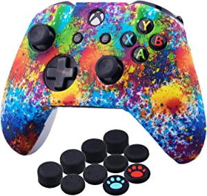 YoRHa Printing Rubber Silicone Cover Skin Case for Xbox One S/X Controller x 1(Spashing Paint) with Thumb Grips x 10