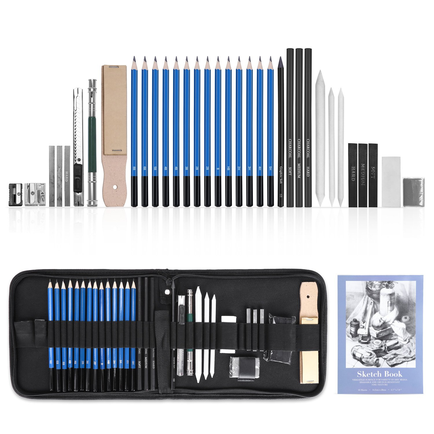 GHB 36Pcs Drawing Pencils Sketching Set Graphite Charcoal Pencils Art Supplies with Erasers Portable Kit Bag Sketchpad