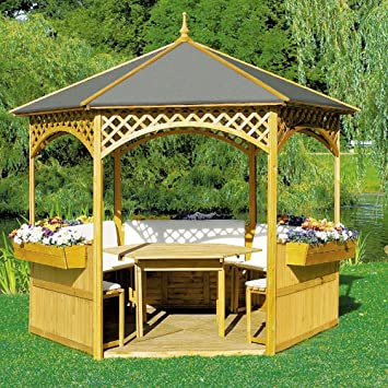 Pabellón Palma con techo de madera y techo cartón con/sin Muebles Madera Cenador, equipamiento: con: Amazon.es: Jardín