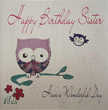 White Cotton Cards 1 Piece Happy Birthday Sister Have A Wonderful