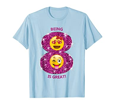 Mens Funny Emoji Birthday T Shirt Gift 8 Year Old Girls 2XL Baby Blue