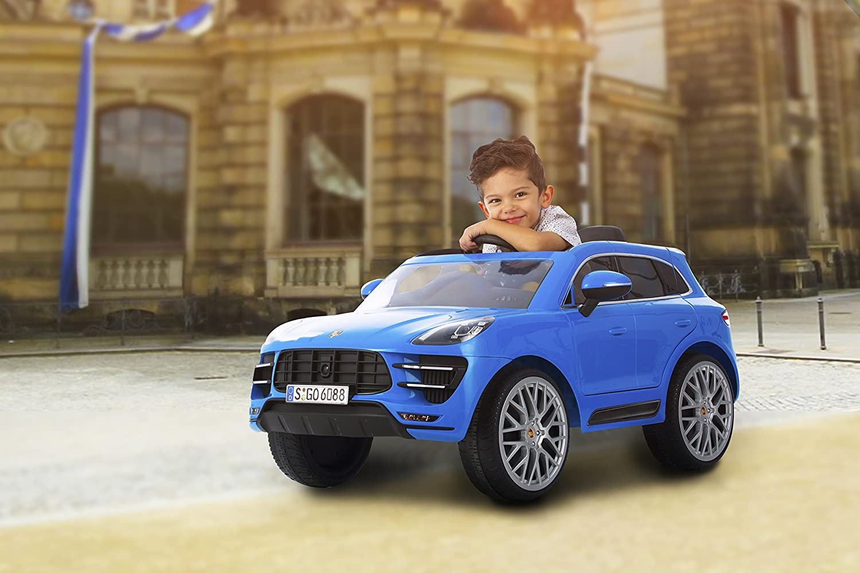 12-Volt-Akku 35 kg Porsche Macan Turbo SUV F/ür Kinder ab 3 Jahren Bis zu 4 km//h ROLLPLAY Premium Elektrofahrzeug mit Fernsteuerung und R/ückw/ärtsgang Bis max Blau