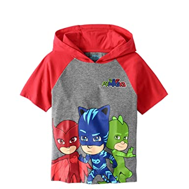 PJMASKS PJ Masks Boys Hooded Shirt Catboy, Owlette, Gekko Short Sleeve Hooded T-