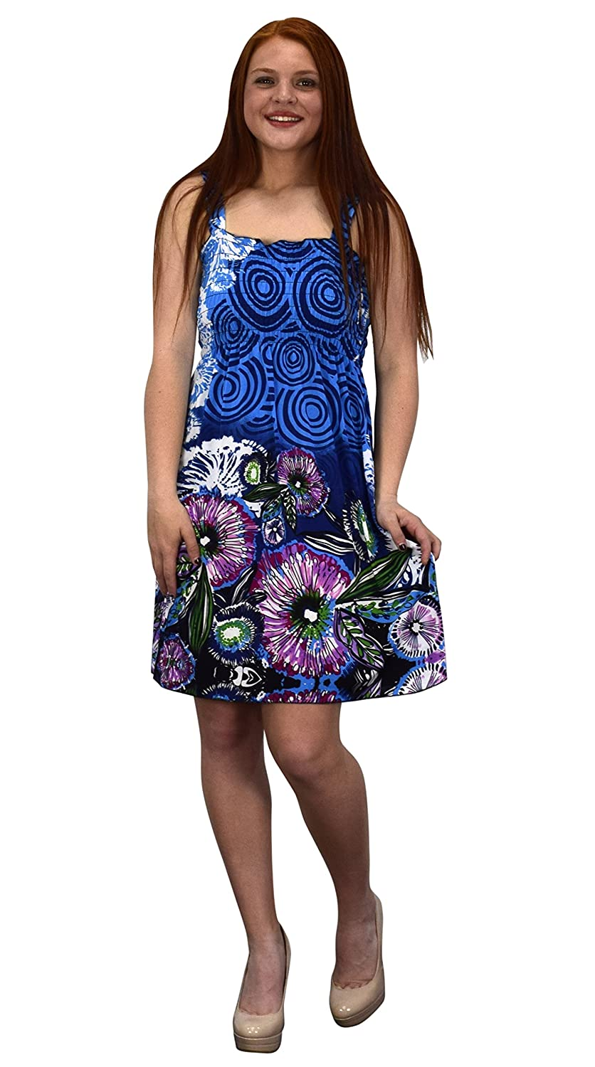 bcb0abb694 Peach Couture Juniors Knee Length Multicolor Exotic Smocked Printed Summer  Dress at Amazon Women s Clothing store
