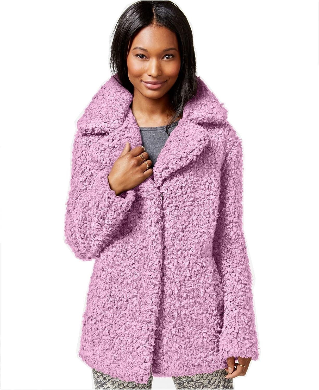 Celebrity Pink Boucle Faux Fur Peacoat , Ballet Pink
