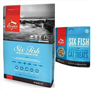 Orijen Six Fish Dry Cat Food 4 LB. Bag. Biologically Appropriate and 1 Six Fish Cat Treat 1.25 Ounce Bag