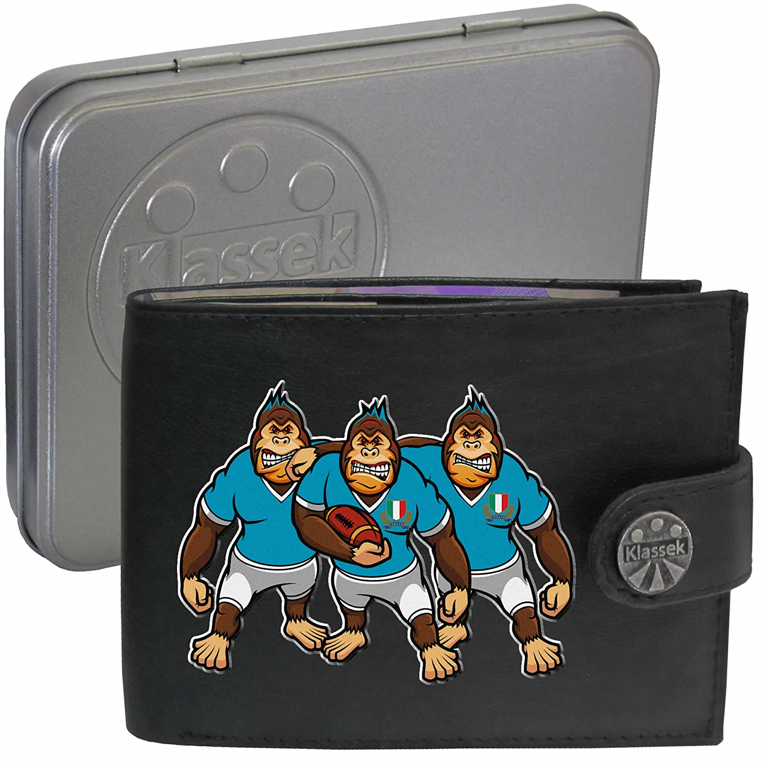 Klassek Italian ITALY Rugby Gorilla Caricatures Mens Black Leather Wallet Novelty Shirt Joke image