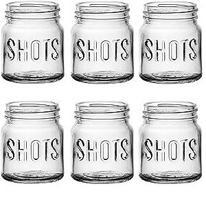 Circleware Mini Mason Jar Heavy Base Shot Glasses, Set of 6, Fun Party Home Entertainment Dining Beverage Drinking Glassware Tumbler Whiskey Coffee Espresso Liquor Bar Jello Cups, Block, 4.9 oz
