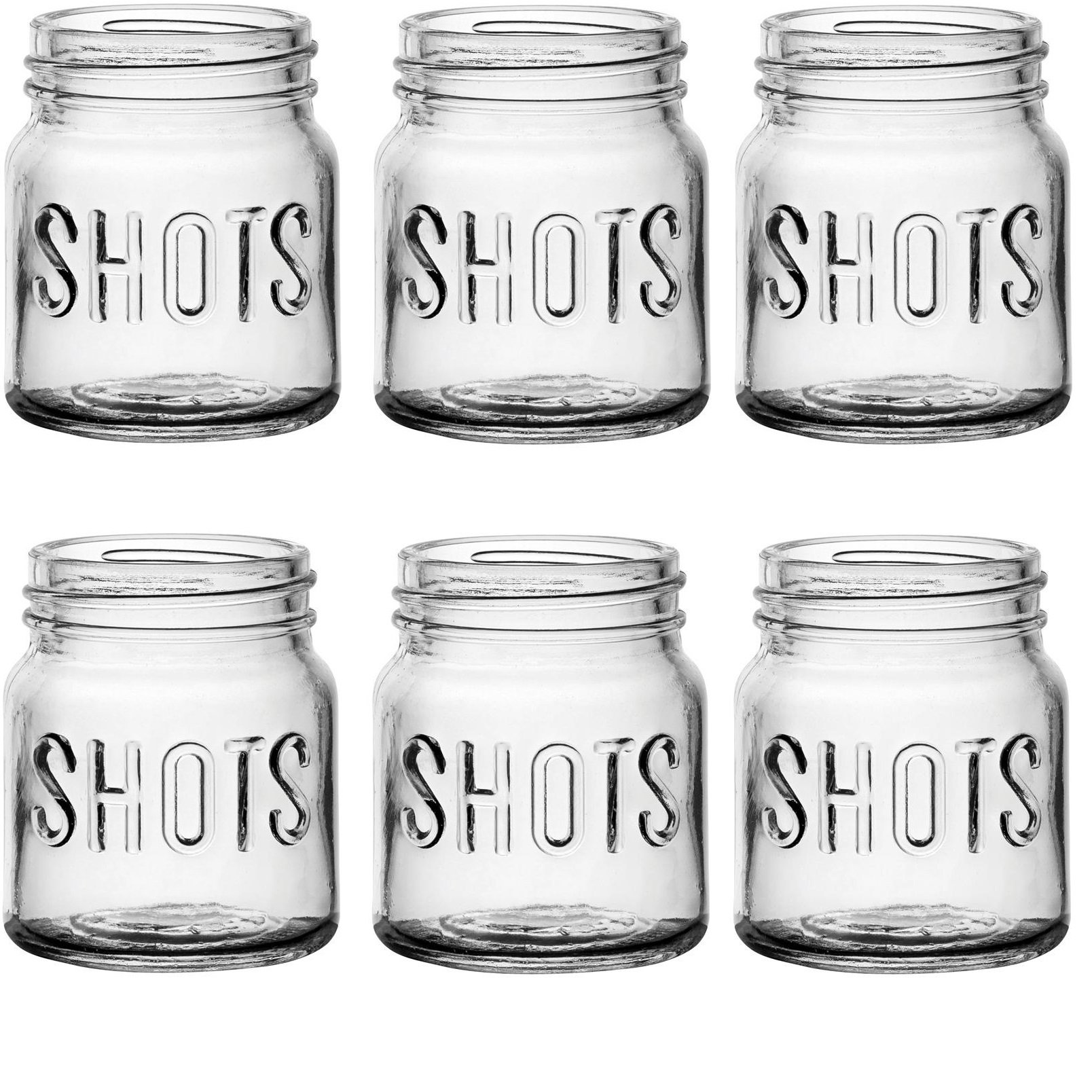 1.7 oz Set of 6 Jello Cups Clear Circleware Roadhouse Heavy Base Whiskey Shot Glasses with Handle Fun Party Beer Mug Shape Entertainment Beverage Drinking Glassware for Bar Liquor Decor