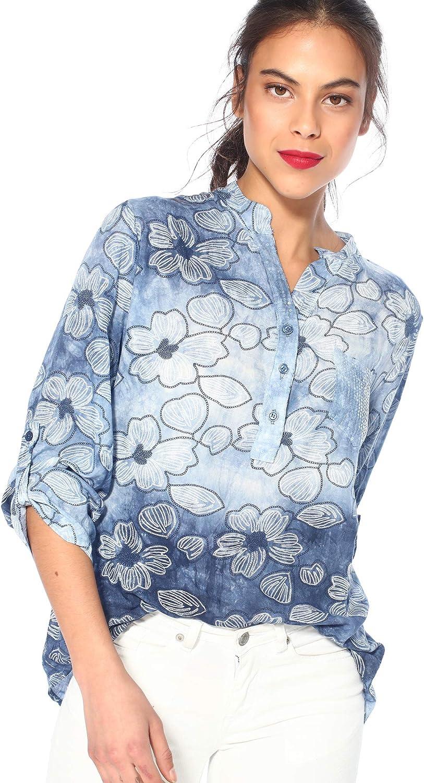 TREND CAPSULE Blusa Cuello Mao Mujer - 034980, Estampado Azul, S: Amazon.es: Ropa y accesorios