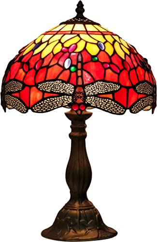 Speculo Lighting Tiffany Style Table Lamp W12H18 Inch Red Dragonfly Stained Glass Crystal Bead Shade Reading Light