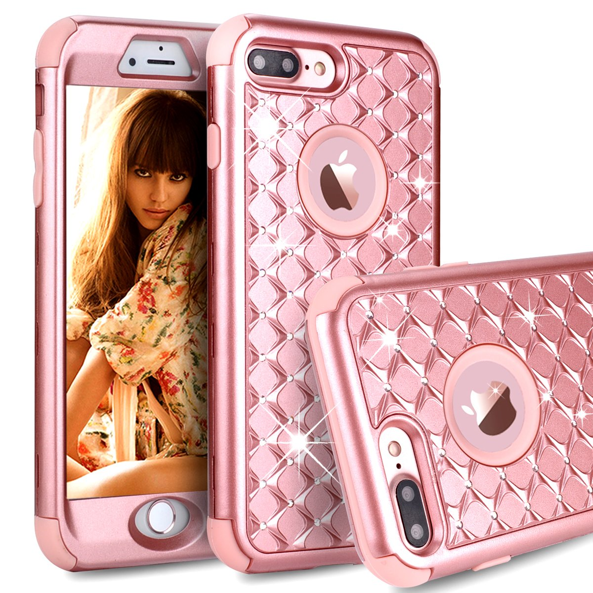 iPhone 7 Plus Case,iPhone 8 Plus Case,Power J Three Layer Heavy Duty Shockproof High Impact Resistant Hybrid Protective Case for iPhone 7 Plus 5.5'',(Diamond Rose Gold)