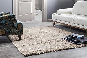 Perla Furniture Perla Shaggy Beige Area, Rug, 8'x10', Light Blue