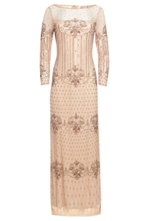 gatsbylady london Dolores Vintage Inspired Maxi Prom Dress in Champagne (US6 EU38)