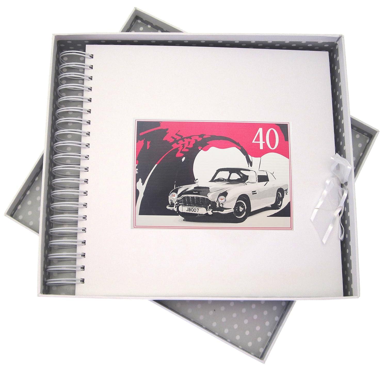 Blanco Cotton Cards – Tarjeta Tarjeta de 40º cumpleaños, Tarjeta Tarjeta de Memoria y Libro, Coche clásico, Color Blanco cb250b