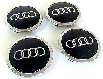Juego de 4 tapacubos centrales para llantas de aluminio, 69 mm, color negro/cromo: Amazon.es: Coche y moto