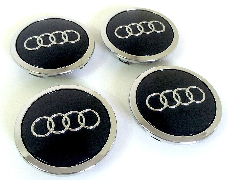 Set de quatre Audi Jantes en aluminium au milieu Moyeu Capuchons Cache Noir insigne 69mm 8t0601170A ou 4b0601170a compatible avec Audi nabenabdeckungen/moyeu Caches Lot de 4capuchons de moy