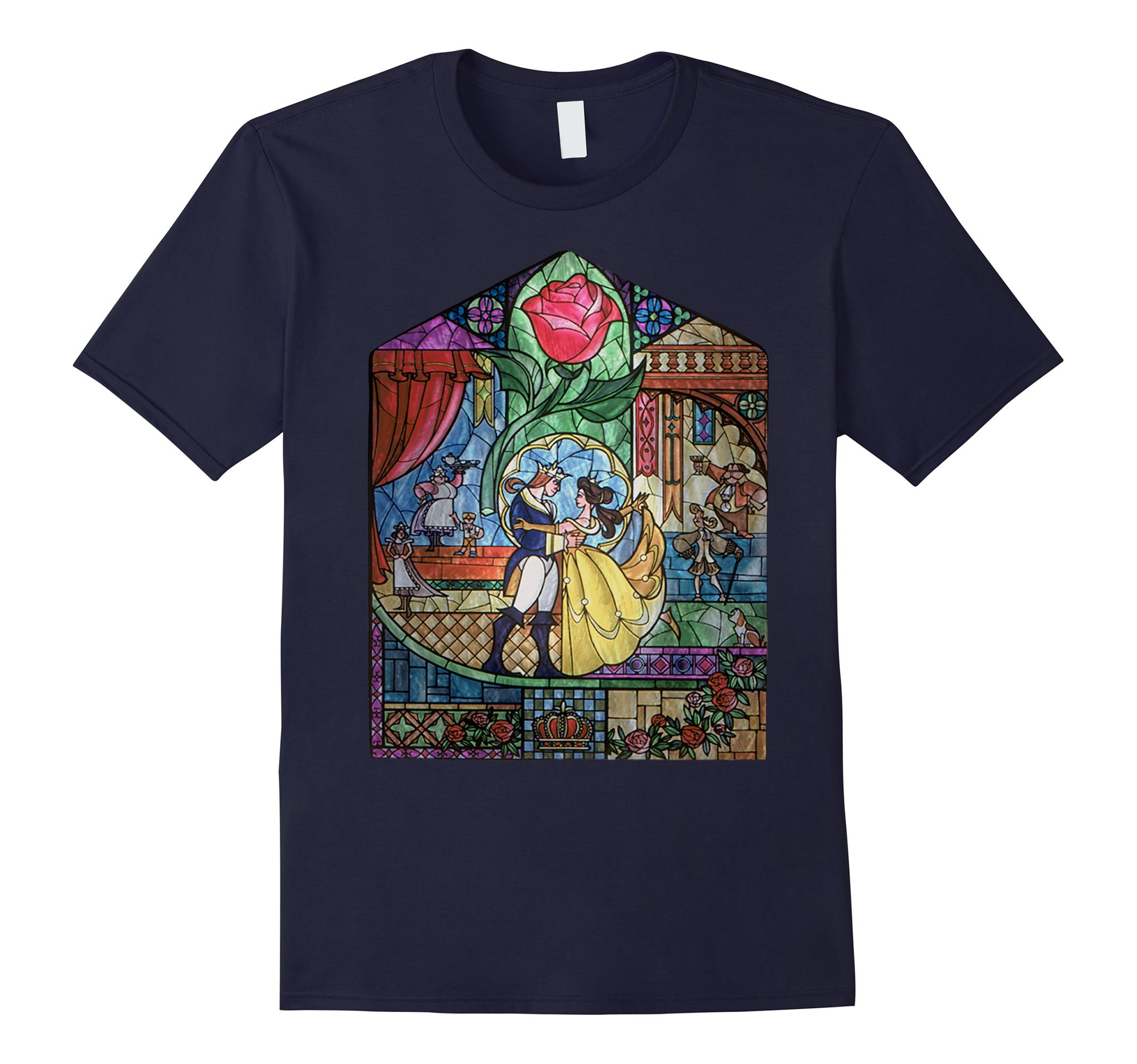 Mens Disney Beauty & The Beast Stained Glass Rose Graphic T-Shirt XL Navy