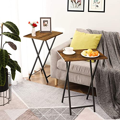 HOOBRO TV Trays Set of 2, Folding TV Tables, Snack Tables for Eating at Couch, Industrial Laptop Table for Small Space, Stable Metal Frame, Easy Assembly and Storage, Rustic Brown BF25BZ01