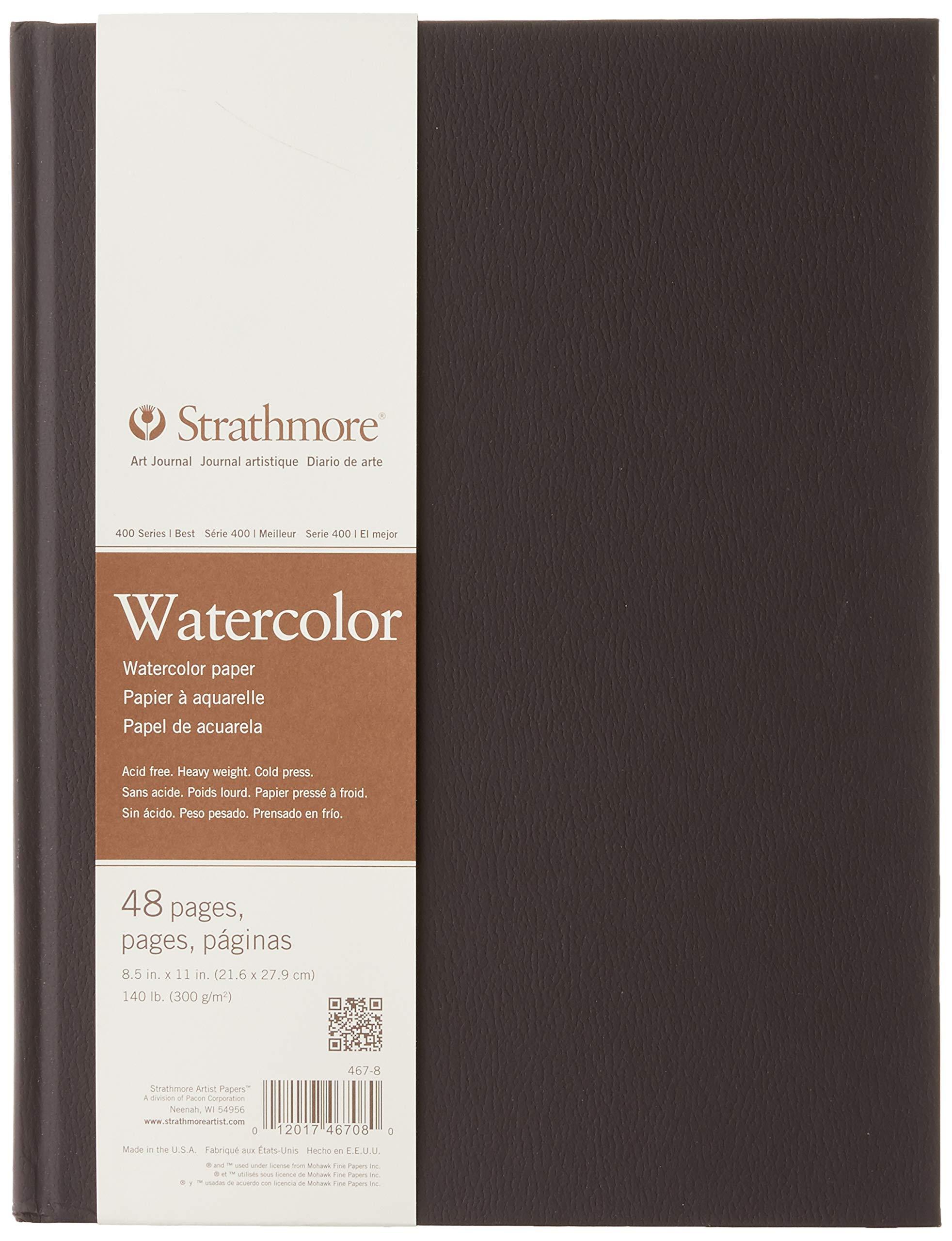 """Strathmore (467-8 STR-467-8 48 Sheet No 140 Watercolor Art Journal, 8.5 by 11"""", 8.5""""x11"""", White, 24"""