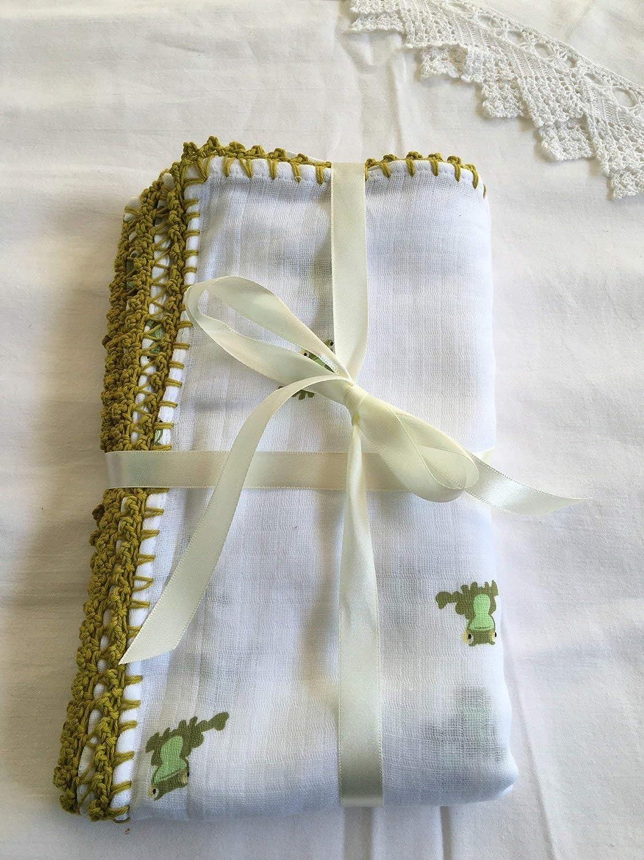 Muselina de algodón para bebés con puntilla Modelo Ranas: Amazon ...