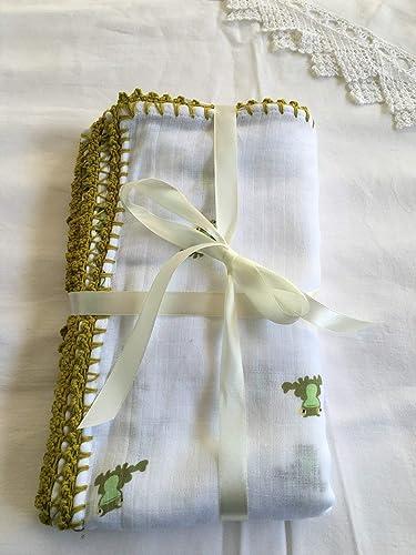 Muselina de algodón para bebés con puntilla Modelo Ranas