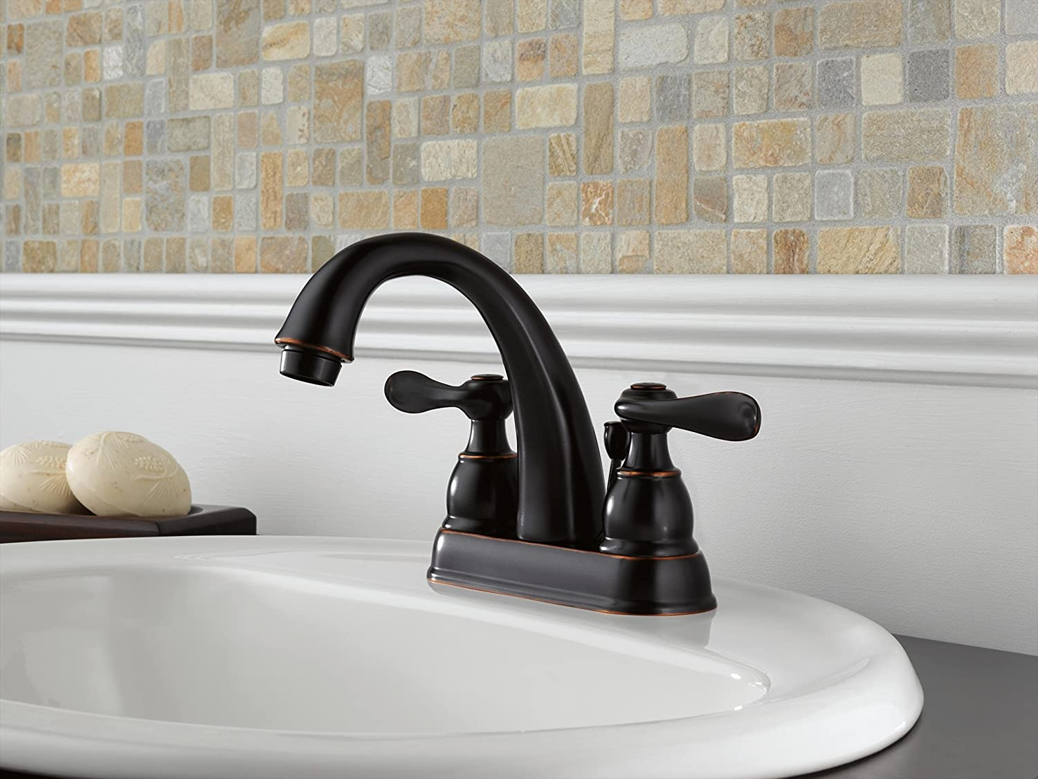 Delta Windemere B2596LF OB Two Handle Centerset Bathroom Faucet, Oil Bronze    Touch On Bathroom Sink Faucets   Amazon.com