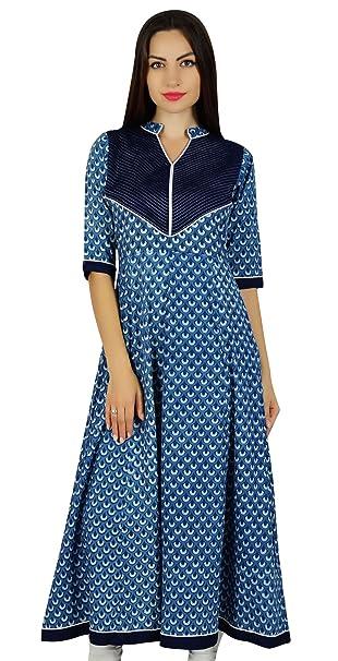 Bimba Women Ethnic Printed Blue Anarkali Kurta Block Print Designer Kurti Casual Wear Dress