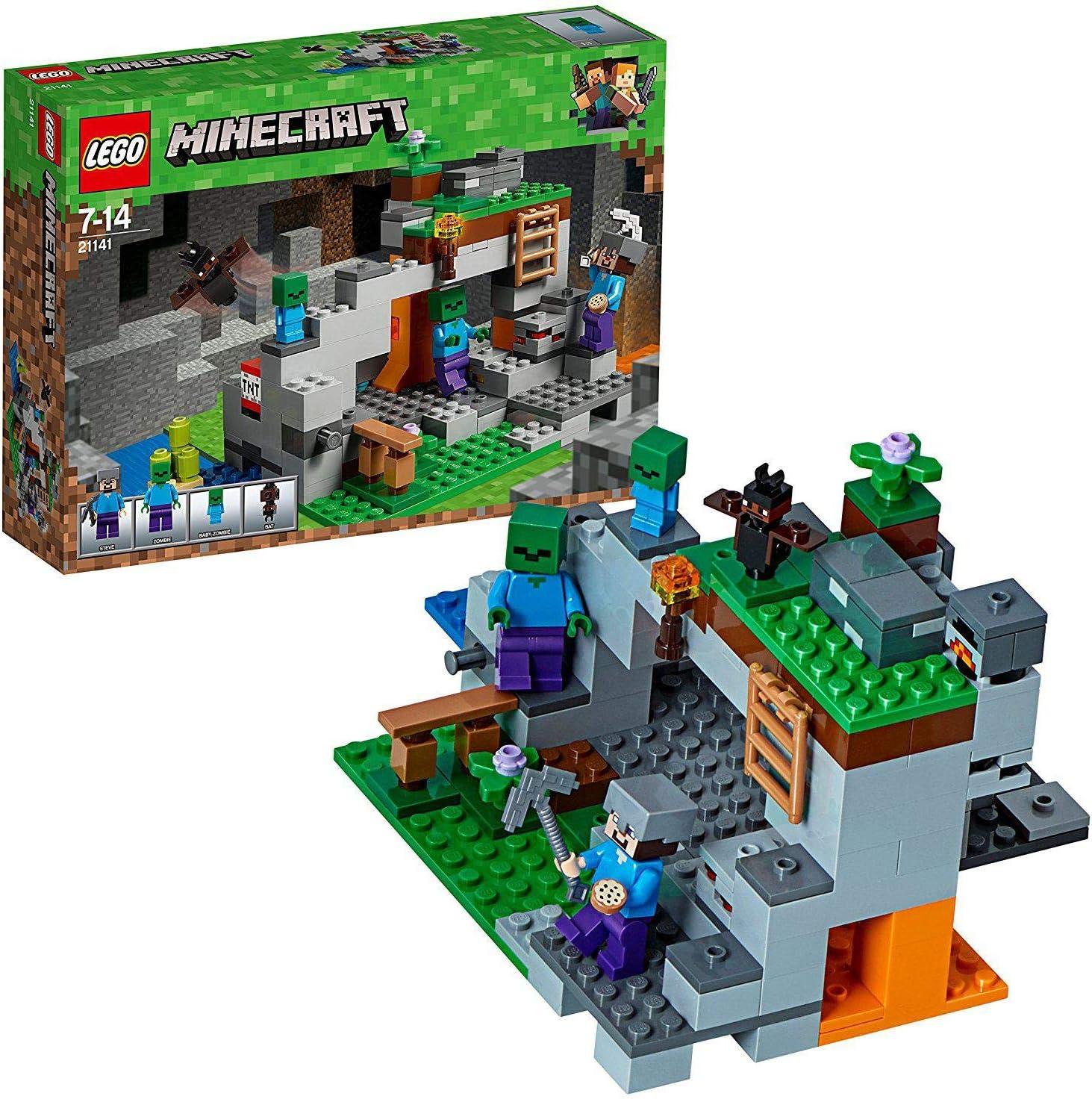 LEGO Minecraft - La Cueva de los Zombis, Juguete de Construcción Inspirado en el Videojuego, Incluye Personajes como Steve y un Zombie, Set a partir de 7 años (21141): Amazon.es: Juguetes y juegos