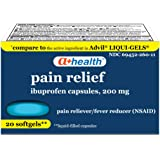 A+ Health Ibuprofen 200 Mg Softgels, Pain Reliever/Fever Reducer (NSAID), Made in USA, 20 Count