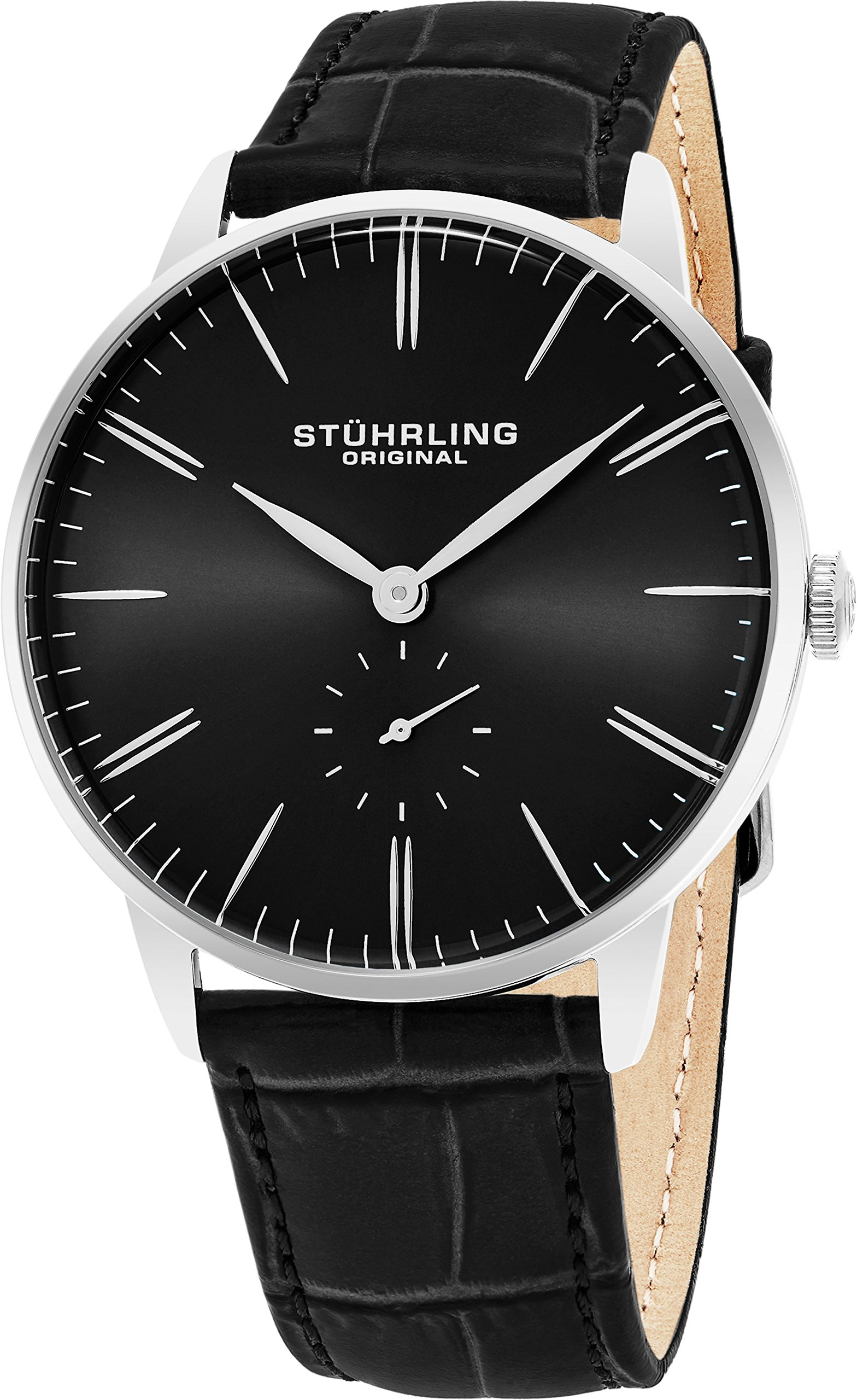 Stuhrling Original Mens Dress Watch, Leather Strap, Vintage Pie-Pan Dial with Seconds Sub-Dial, Stainless Steel Analog Japanese Quartz Watch, 849 Series (Black)