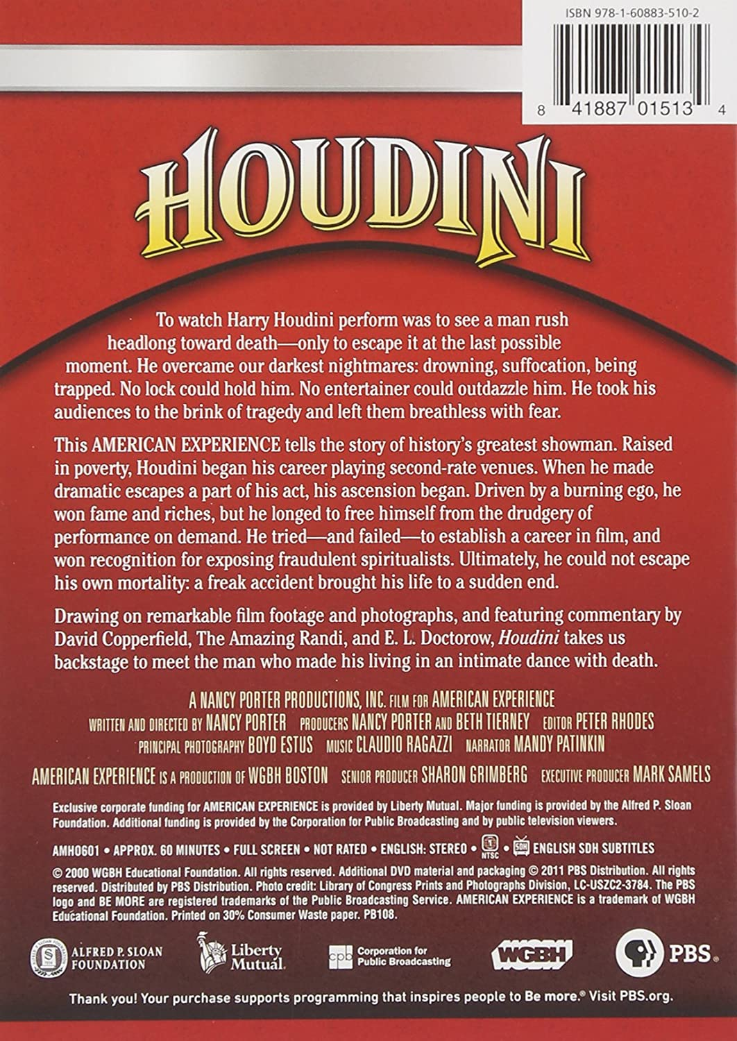 com american experience houdini produced by nancy com american experience houdini produced by nancy porter beth tierney movies tv