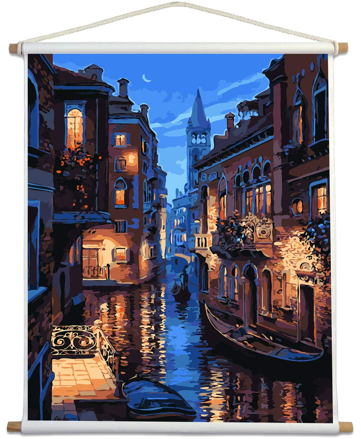 Paint by Numbers for Adults Kits with Wooden Stick The Giant Dimensions Plaid DIY Acrylic Oil Painting Kit for Adult Beginner on Canvas 16''X20'' Venice Evening by MOCRA
