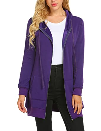 f543001b Zeagoo Women Zip up Hoodies Casual Pockets Tunic Sweatshirt Long Hoodie  Outerwear Jacket ,Purple ,