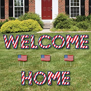 Wonderful Patriotic Welcome Home   Yard Sign Outdoor Lawn Decorations   Military  Homecoming Yard Signs