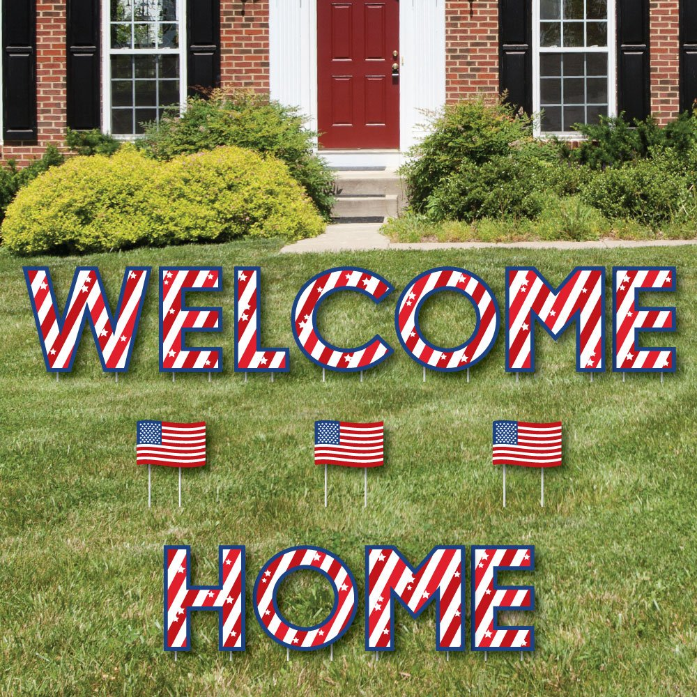 Big Dot of Happiness Patriotic Welcome Home - Yard Sign Outdoor Lawn Decorations - Military Homecoming Yard Signs