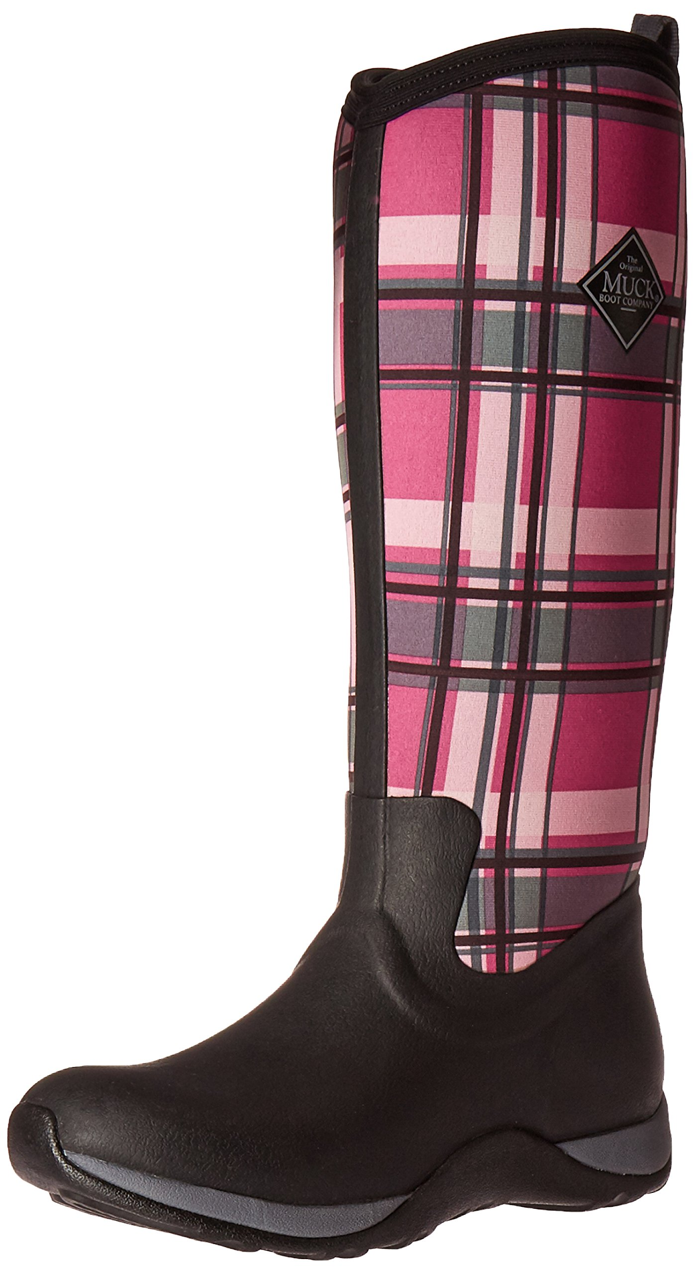 Muck Boot Women's Arctic Adventure Tall Snow Boot, Black/Pink Plaid, 8 M US