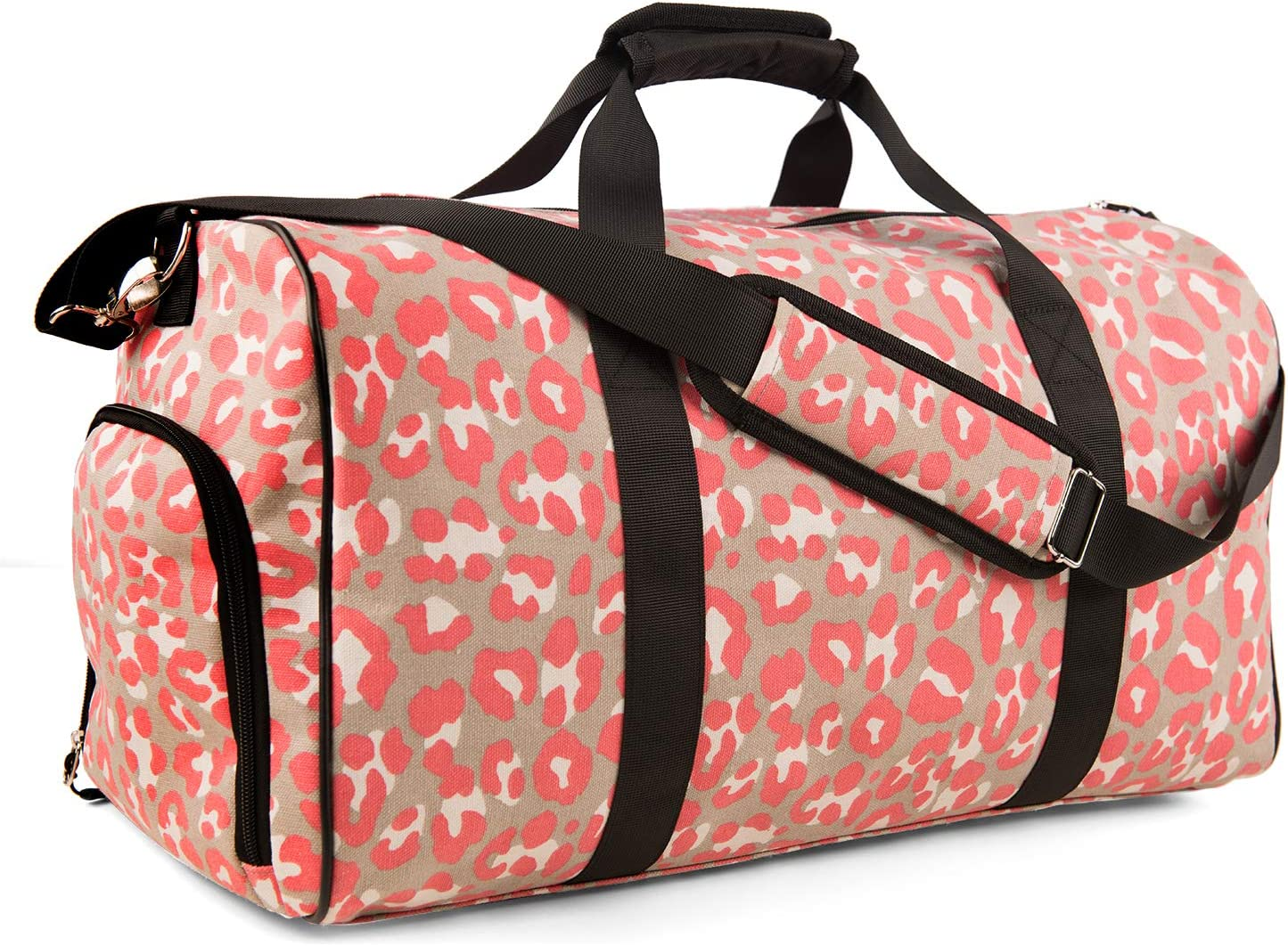quite nice delicate colors buying cheap Sports Gym Bag Travel Duffle Weekender Overnight Carry On Luggage with Shoe  Compartment for Men Women Pink Leopard DEMOMENT