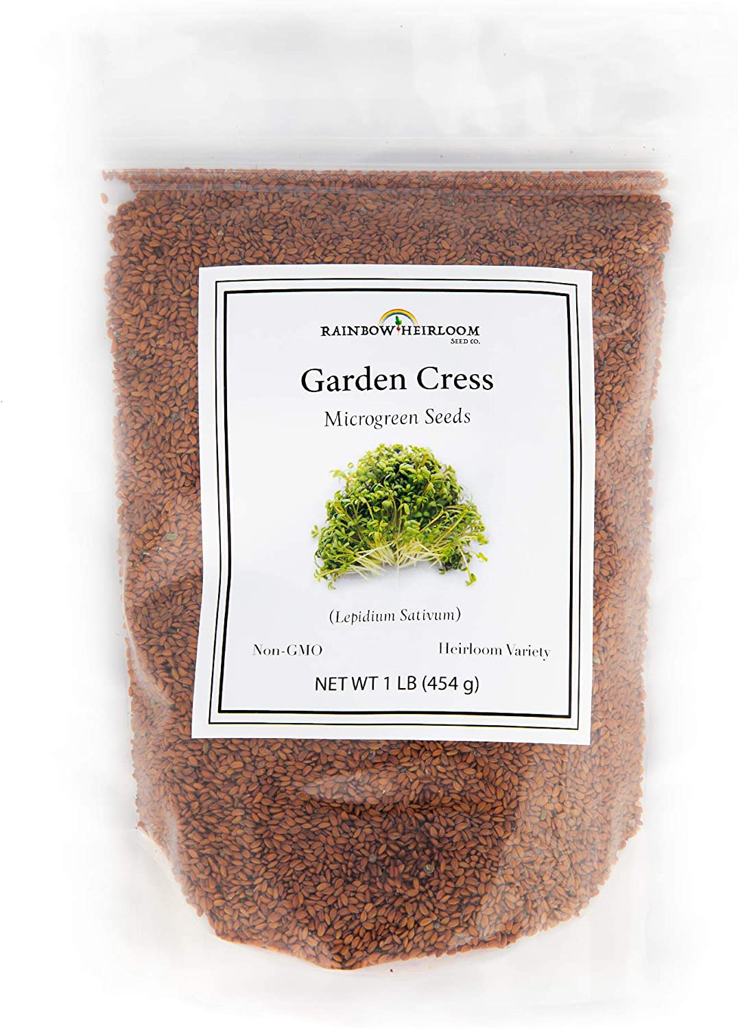 Garden Cress Seeds for Microgreens & Planting Outdoors | 1 LB Bulk Lepidium sativum Seeds | Non GMO Heirloom Variety | Rainbow Heirloom Seed Co.