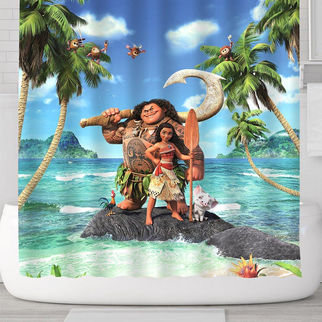 LIGHTINHOME Kids Shower Curtain For Moana Movie Ocean Polyester WaterProof Bathroom Shower Panel Mildew Resistance Eco-Friendly 72 x72 Inches With 12-Pack PlasticShowerHooks