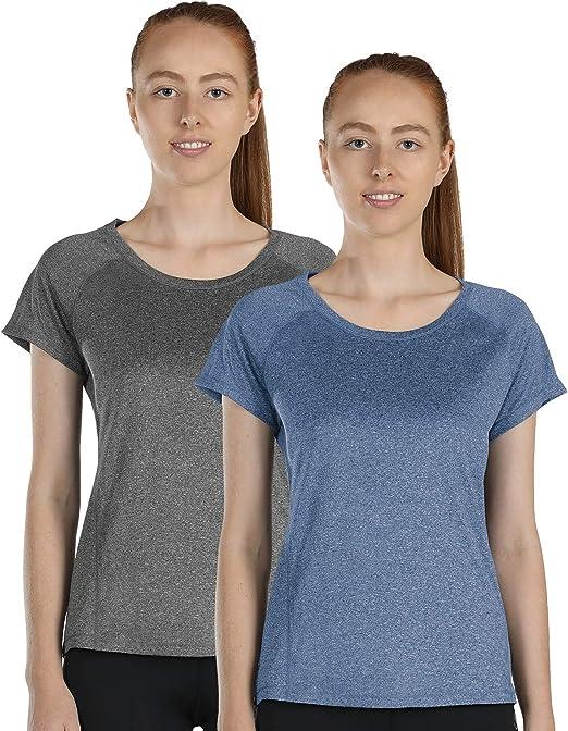 icyzone Sport T-Shirt Damen Kurzarm Laufshirt Atmungsaktive Fitness Gym Shirt Schnell Trockened Funktionsshirt