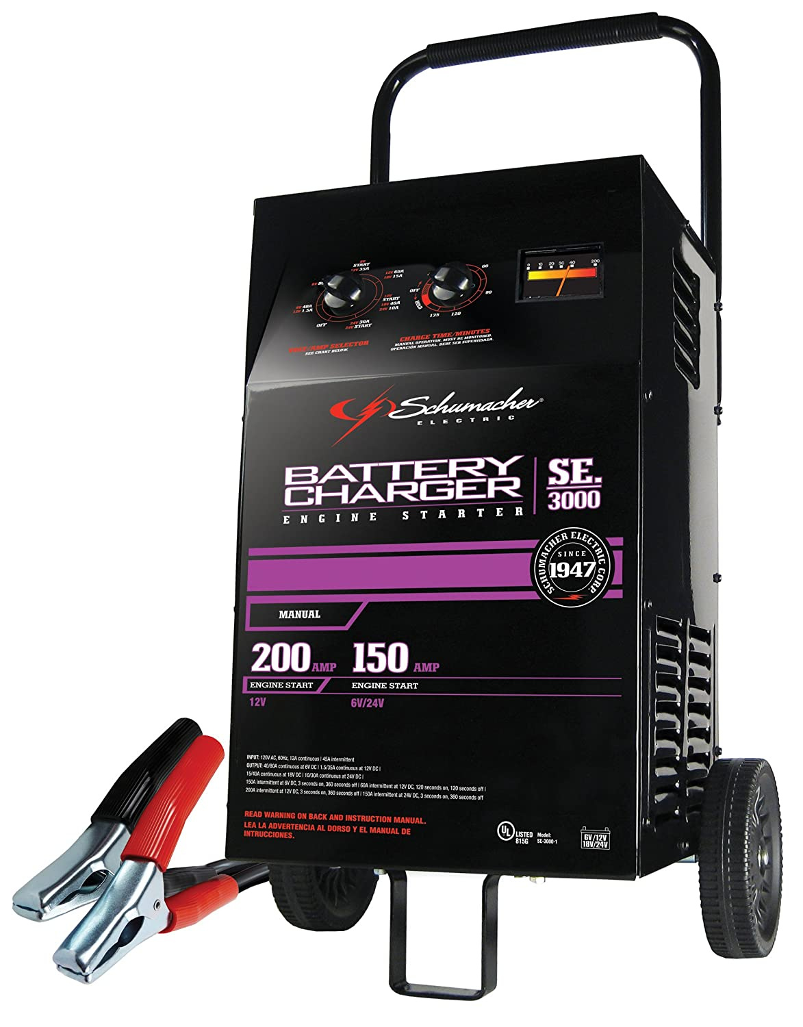 Amazon.com: Schumacher SE-3000 1.5-200 Amp Manual Fleet Battery Charger:  Automotive