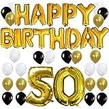KUNGYO Letras Tipo Balón Doradas HAPPY BIRTHDAY+Número 50 Mylar Foil Globo+24 Piezas Negro Oro Blanco Globo de Látex- Perfecta 50 Años de Antigüedad Fiesta de Cumpleaños Decoraciones