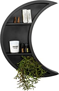 Matte Black Moon Shelf - Large Crescent Moon Wall Decor for Essential Oils, Plants and Crystal Display - Unique Boho Décor Great for Living Room, Bedroom, Nursery